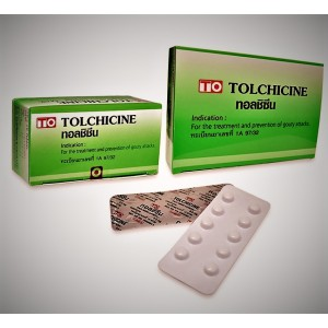 Tablets Colchicine 0,6mg for the treatment of gout and the removal of acute pain in the joints, 100 pieces.